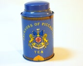Vintage Tin, Blue Gold Tea Tin, Antique Metal Aluminum Can