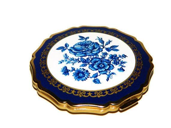 Vintage Compact Antique Case English Blue Stratton Mirror Enamel Compact RARE