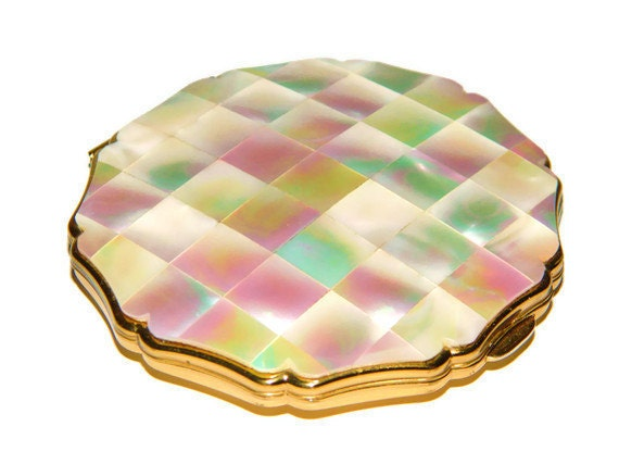 Vintage Compact Antique Mother of Pearl Stratton Mirror Enamel Compact Great condition