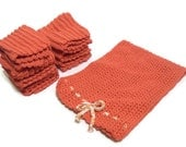 Crochet Washcloths and Hand Towel Set Seven Washcloths Orange Washcloths Autumn Kitchen Decor Fall Hand Towel