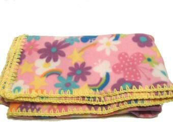 Rainbow Fleece Throw, Girls Floral Blanket, Kawaii Blanket, Rainbow Butterflies, Fantasy Fleece Throw, Dorm Room Decor, College Dorm Girl
