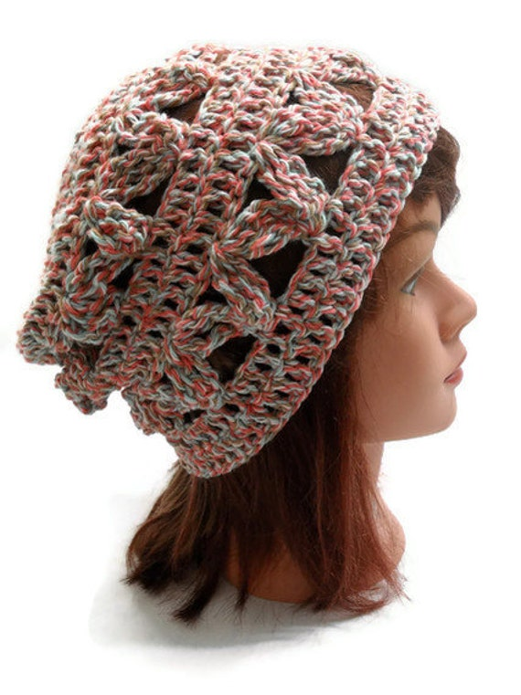 Crochet Geometric Slouch in Coral, Aqua, Brown and White Small / Medium