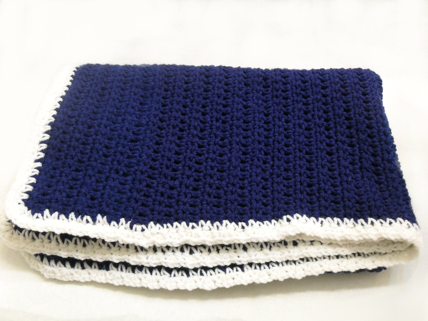 Crochet Baby Blanket In Navy Blue And White By Addsomestitches