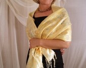 Golden Laces Felted Wool Shawl