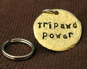 Hand Stamped Three Paw Tripawd Power Pet Tag in Brass