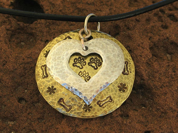 Hand Stamped Three Paw Necklace Pendant in Brass and Aluminum