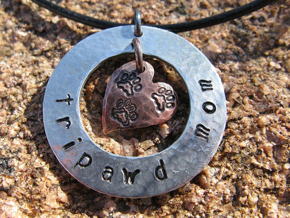 Hand Stamped Tripawd Mom Necklace Pendant