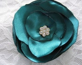 Bridal satin fabric flower hair clip wedding accessory in teal special occasion