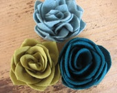 Felted wool flowers from recycled sweater eco friendly for hair accessories brooch pin home decor