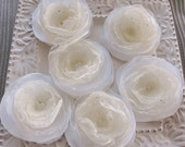 fabric flower sew on white and ivory embellishment appliques for bride, hair accessories