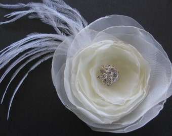 Bridal ivory flower hair clip wedding hair accessory