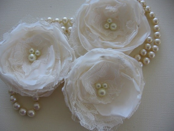 fabric flower sew on appliques embellishments for bridal sash, hair clip, shoe clips