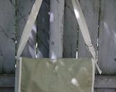 Canvas, Natural Duck Cloth, Sage Green Burlap Accent Detail, Messenger  Bag