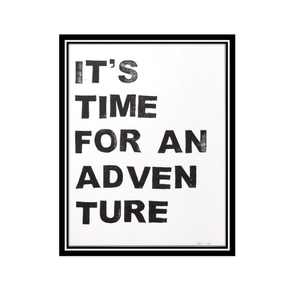 Adventure Time - Block Print in Licorice Black - 8 x 10 Poster