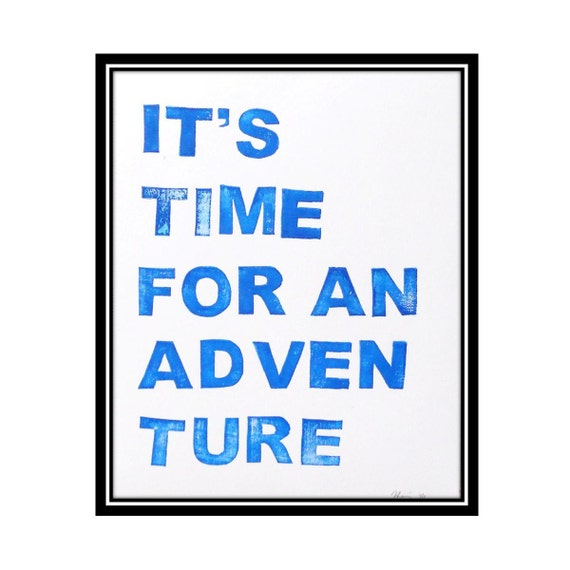 Adventure Time - Block Print in Bold Blue - 8 x 10 Poster