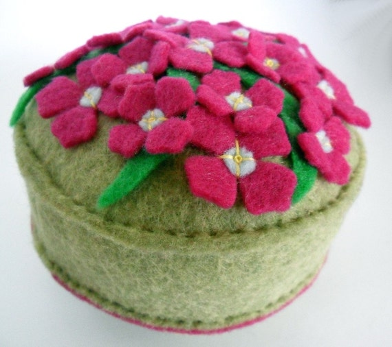 Reserved for Karen - Pincushion Boronia flowers in fuchsia pink on light moss green recycled felt handsewn