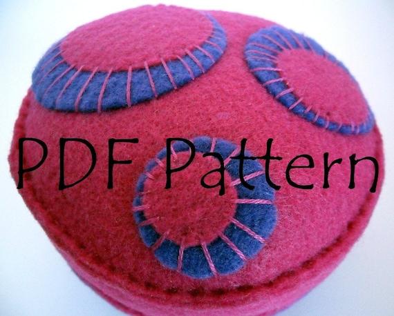 Pincushion PDF Pattern Bright Pink and Purple Circles Pin cushion