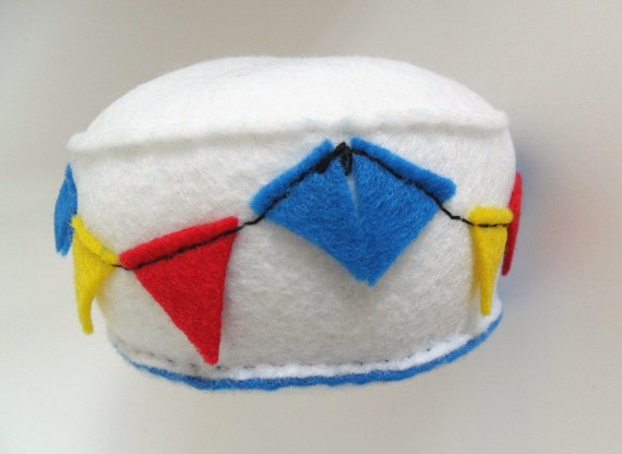 SALE - Bright felt bunting on white recycled felt pincushion handsewn