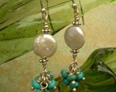 White Coin Pearl Earrings with Turquoise Shinka Clusters