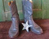 Reserved--Vintage Leather Boots Gray Rockabilly Justin Roper Cowboy/Cowgirl Boots size 7.5