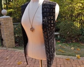 All Squared Vest Adrienne Vittadini Black Crocheted and Knit Beaded Open size Medium