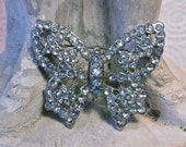 Brooch 30's/40's Art Deco Pave Clear Paste Jewels Butterfly Pot Metal