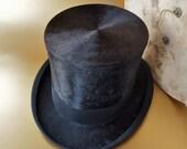 Rare Black Silk J. Heinrich Imperiel Court Hatmaker Top Hat in Original Box Prague/ Vienna Late 1800's/1900's Steampunk