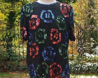 Vintage Top 1980s Black, Red, Blue, Green Iridescent Sequin and Bead Abstract Roses Blouse Laurence Kazar