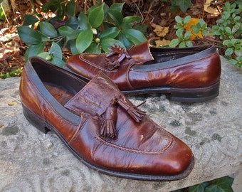 Men's Shoes Johnston and Murphy 1960's Mad Men Tassel Loafers size 10/11