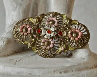 1920's Czech Brooch Bohemian Art Deco Gablonz Enameled Brass Sunflower Filigree Brooch
