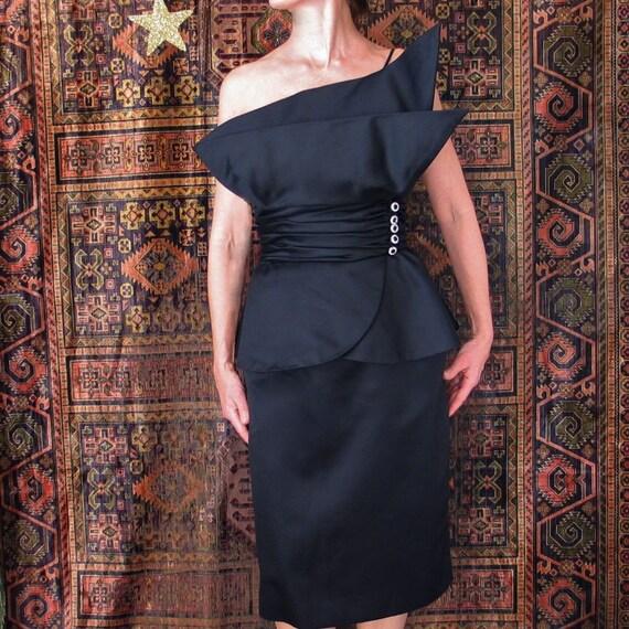 1980's Victor Costa Black Cocktail Dress
