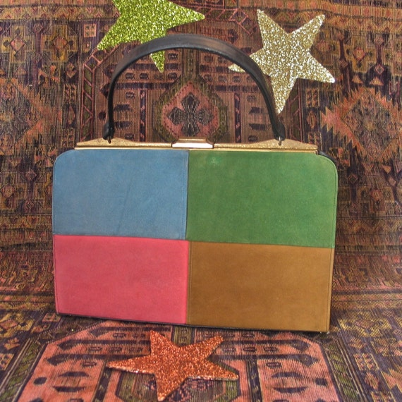 Sydney of Califonia Color Block Suede and Leather Purse 1960's