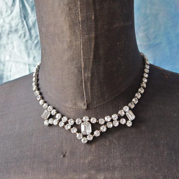 1960's Mad Men Czech Rhinestone Necklace Choker Sweet Sixteen Bride