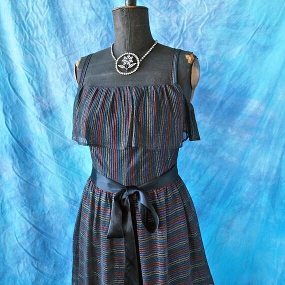 Vintage Maxi Dress Tiered 70's Black Chiffon Color Metallic Thread Pin Stripe Tall Girl Long Dress With Satin Ribbon Belt