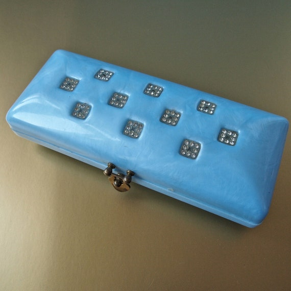 50's Baby Blue Pearlized Lucite Clutch with Rhinestones Mad Men Collectible