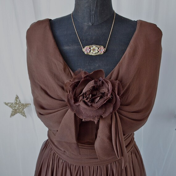 50's/60's Vintage Dress Chocolate Brown Chiffon Drape Cape Dress with Bow and Rose Southern Lady Blanche Dubois