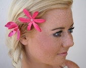 Pink Flower Bobby Pins Set of Three