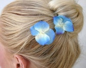Blue and Lilac Hydrangea Bobby Pins with Crystal Centers Set of Two