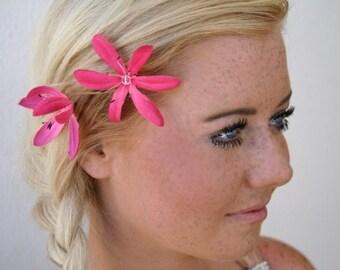 Pink Flower Bobby Pins Set of Three