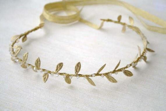 Gold Laurel Leaf Vine Headband with Crystals