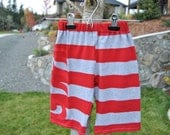 Upcycled Baby Pants Stripy -Red size 6m