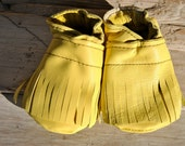 Soft Soled Baby Booties with Fringe Recycled Yellow Leather