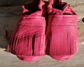 Leather Baby Booties with Fringe Soft Soled Recycled Pink