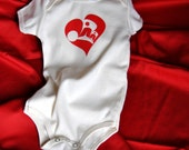 Baby Onesie- Silkscreened Heart with Butterfly size 3-6 months Organic Cotton