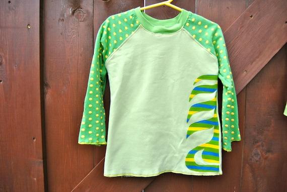 Long Sleeve Raglan Upcycled T-shirt-Size 4/5