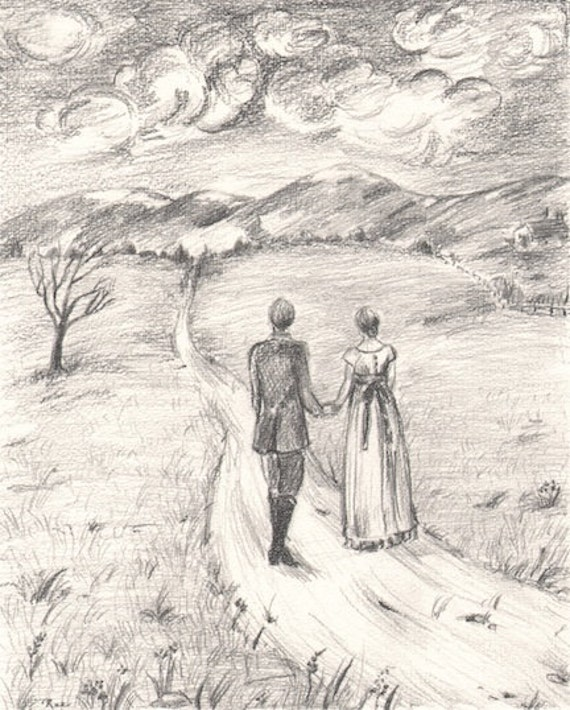 Items similar to Romantic pencil drawing of couple in ...