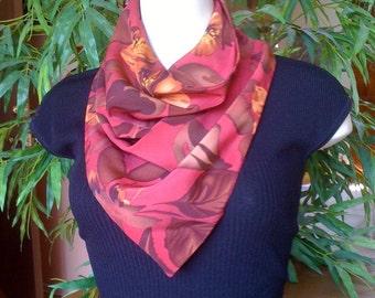 Magenta floral print cowl scarf