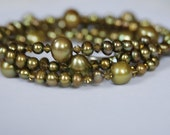 "Freshwater Pearl and Swarovski Crystal Long Necklace ""Olive You"""