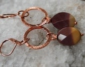 Moukaite and Copper Earrings