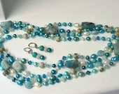 Turquoise, Ocean Jasper, Amazonite and Moonstone Long Necklace and Earring Set for Women